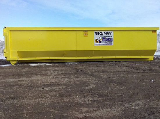 Yellow 30 yard dumpster with Moen logo and phone number 701-277-8751